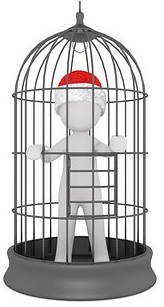 man in cage at christmas